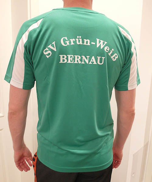 "Mesh Shirt ""Grün Weiß"" Rückseite"