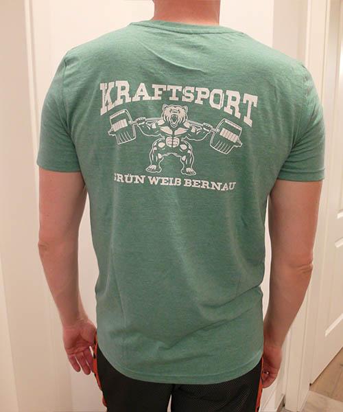 "V-Neck Shirt ""Kraftsport"" Rückseite"