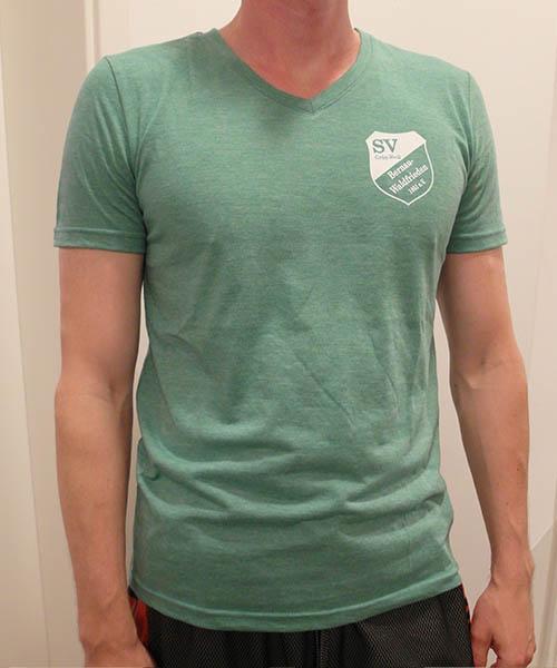 """V-Neck Shirt """"Grün-Weiß"""" Vorderseite"""
